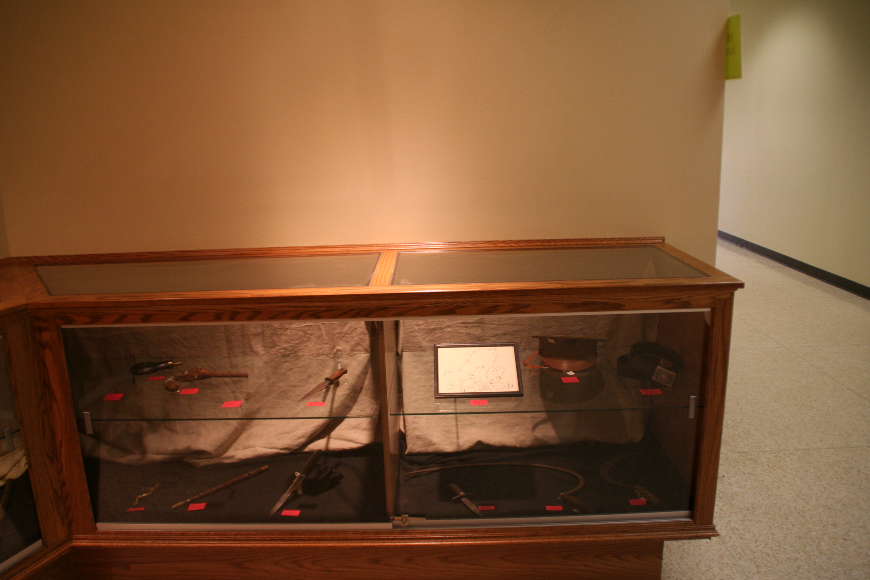 A glass case lined with red velvet, filled with guns and knives of various sorts.