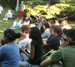 Audience at amphitheatre performance