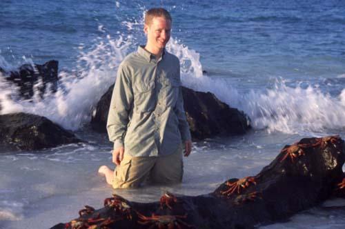 dan with sally lightfoot crabs