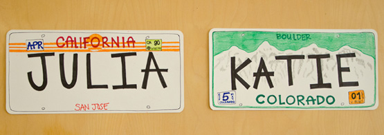 roommate name tags as license plates
