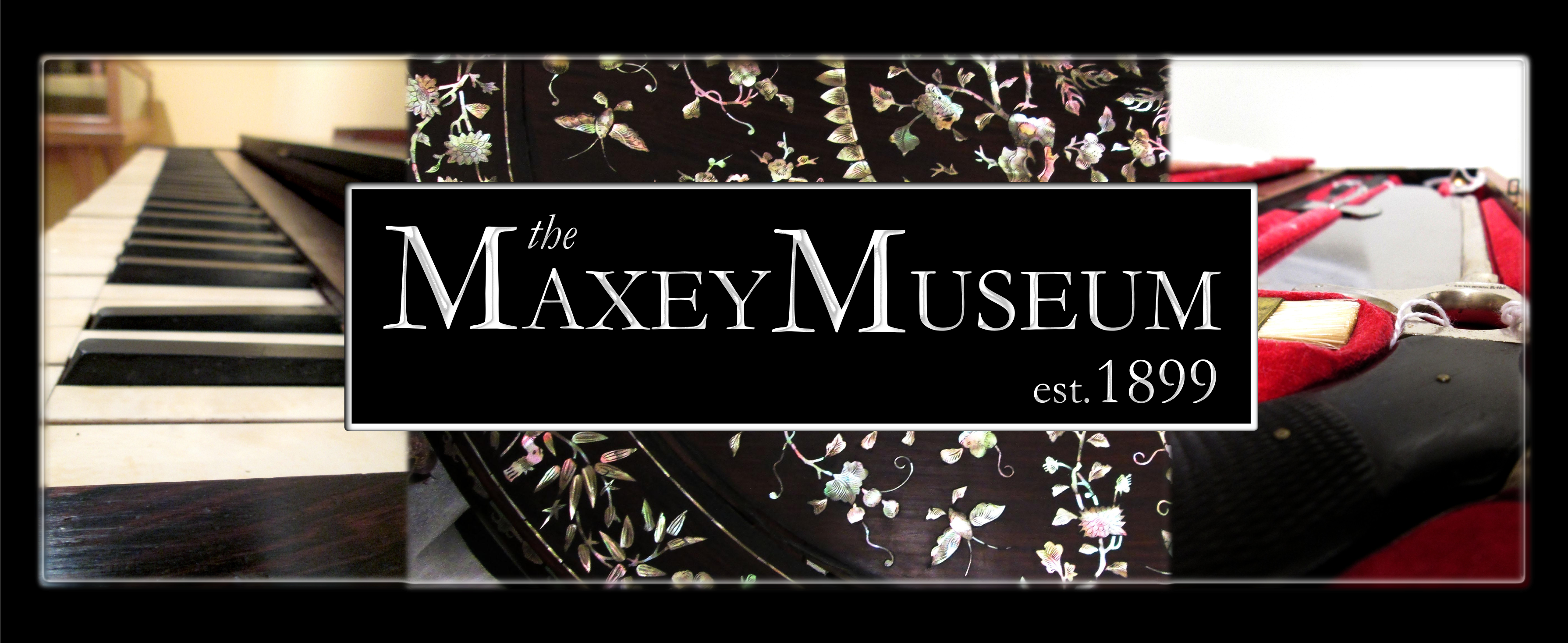 Maxey Museum Logo, depicts peiano keys, a black rug with a floral pattern, and the inner workings of a piano.