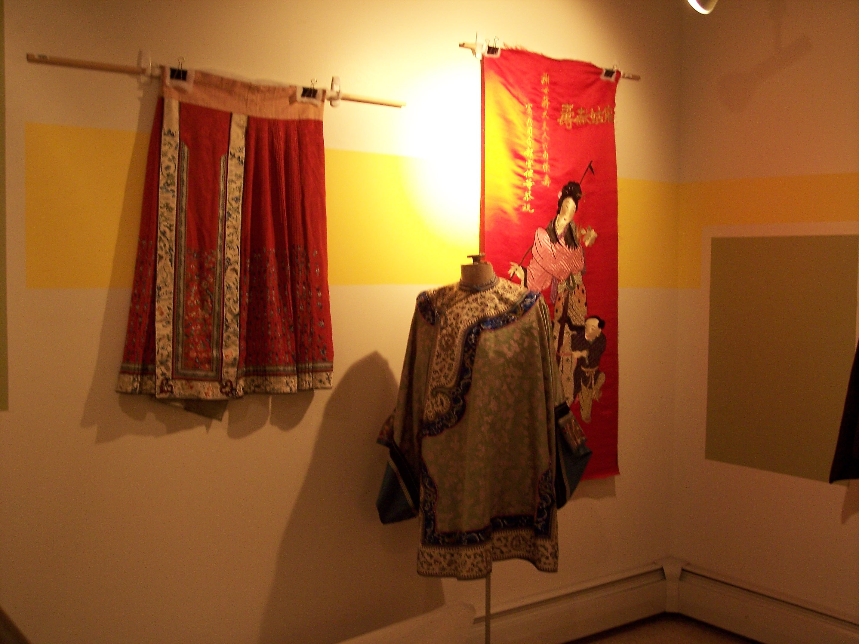 Silk clothes and a silk wall hanging
