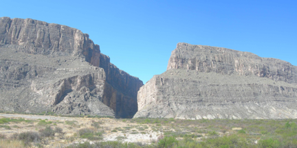 Santa Elena Canyon is one of three canyons found in the national park.  Here the Rio Grande has incised down several thousand feet through Cretaceous limestone. (Photo by Matthew Morriss)