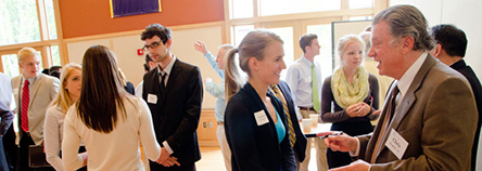 Whitman College students networking with alumni of various industries.