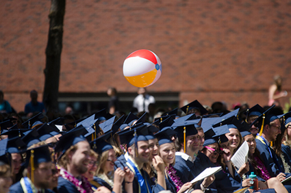 The Class of 2015 enjoy their moment in the sun during Commencement.