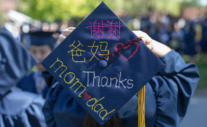 Whitman College graduate Thanks her Mom and Dad.