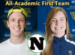 All-Americans Andrew La Cava '14 of men's tennis and Claire Collins '14 of women's swimming representing Whitman College.