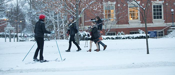 Students preparing to enjoy Winter.